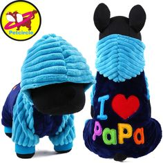 Petcircle NewFashion I love papa I love mama Pet Dog Clothes winter Clothing For Pet Small Large Dog Coats Jackets for chihuahua