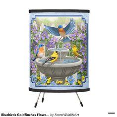 Bluebirds Goldfinches Flower Garden Fountain Blue Tripod Lamp