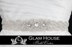 Bridal Wedding Sash- Jeweled and Beaded. I like the larger beads in the center. Nice detail.