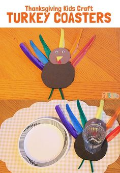Thanksgiving Kids Craft: Turkey Coasters - An easy craft to entertain kids or make ahead to personalize place setting for little guests. Make this turkey coaster with simple and colorful supplies available at Walmart!