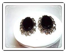 Black Emmons Earrings - Victorian Revival Mourning Earrings E296a-04081200