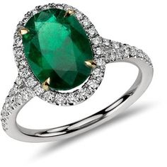 Blue Nile Oval Emerald and Diamond Ring