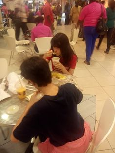 At lunch at the Mall today...Izzie stole my Dhal! (8/15/14)