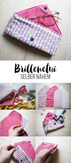 With this guide you can easily get a DIY Brill .- Mit dieser Anleitung kannst du dir ganz leicht ein DIY Brillenetui selber nähen… With this guide you can easily sew a DIY glasses case yourself! Diy Glasses, Glasses Case, Glasses Guide, Sewing Projects For Beginners, Knitting For Beginners, Teen Sewing Projects, Sewing Hacks, Sewing Tutorials, Sewing Tips