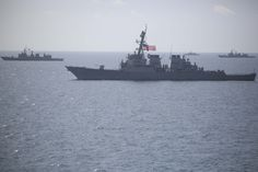 GULF OF THAILAND (June 20, 2016) The USS Stethem (DDG 63) sails in formation with ships from the Royal Thai Navy during combined operations at sea in support of Cooperation Afloat Readiness and Training (CARAT) Thailand. CARAT is a series of annual maritime exercises between the U.S. Navy, U.S. Marine Corps and the armed forces of nine partner nations to include Bangladesh, Brunei, Cambodia, Indonesia, Malaysia, Singapore, the Philippines, Thailand and Timor-Leste.