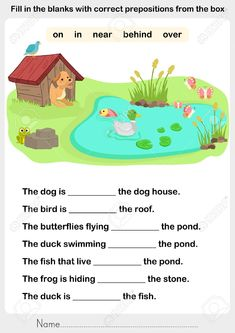 Fill in the blanks with correct prepositions - preposition worksheet for education English Grammar For Kids, Learning English For Kids, English Worksheets For Kids, English Lessons For Kids, Preposition Activities, Grammar Activities, First Grade Activities, Preschool Learning Activities, 2nd Grade Reading Worksheets