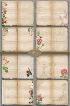 Journal Paper, Journal Cards, Junk Journal, Bullet Journal, Journal Pages Printable, Shabby Chic Journal, Printable Lined Paper, Garden Journal, Collage Sheet