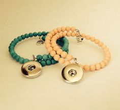 Beaded bracelets for 1 snap button in lovely colors.