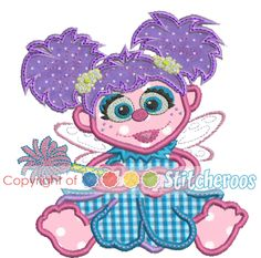 Abby Cadabby Full Body applique embroidery design by Stitcheroo Designs  filed under applique,  children sesame street, ( Disney, as a back up)