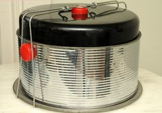 1950s Atomic Art Deco Black Red Bakelite Chrome Ribbed Cake Holder FOUR Pieces Mad Men Double Cake Carrier