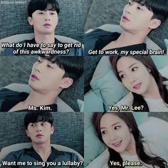 What's Wrong With Secretary Kim? Oppa's singing was so adorable! Miss In Kiss, Lee Tae Hwan, Good Morning Call, Korean Drama Quotes, Lee Young, A Love So Beautiful, Drama Memes, Seo Joon, Japanese Drama