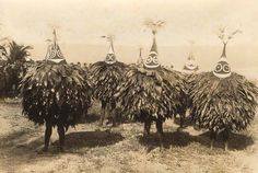 Tumbuans in 1914 in Rabaul. Tumbuans were the female masks with Duk Duk's being male. there were as secret society that only appeared on the full moon.