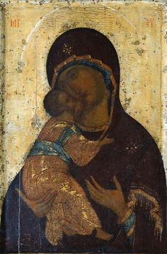 Virgin of Vladimir by Andrei Rublev, Russian orthodox monk and iconographer Byzantine Icons, Byzantine Art, Russian Icons, Russian Art, Religious Icons, Religious Art, Andrei Rublev, Immaculée Conception, Pop Art