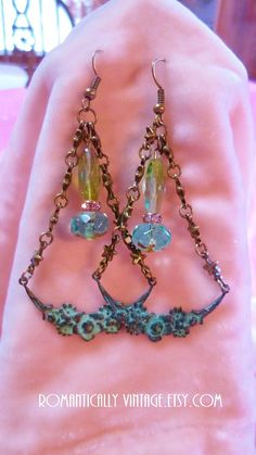 Patina Chandelier Earrings Stars Rustic by RomanticallyVintage, $34.25