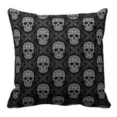 Grey and Black Sugar Skull Pattern Throw Pillows