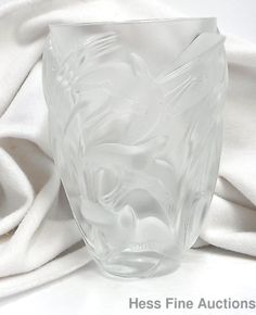 Lalique France Heavy Frosted Art Glass Massive Swallow Bird Vase