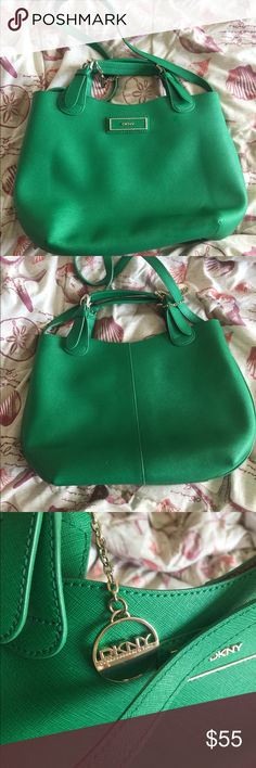 DKNY stunning green coloured bag ! DKNY emerald green coloured sling bag! Barely used ! Has no damage at all. Has gold hardware and a cute DKNY charm 😍 has a little removable pouch inside as well . Dkny Bags Satchels
