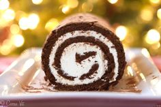 A chocolate swiss roll cake is very simple to make and you can flavor the whipped cream however you want – orange liquor, almond extract, peppermint or maybe a splash of amaretto.