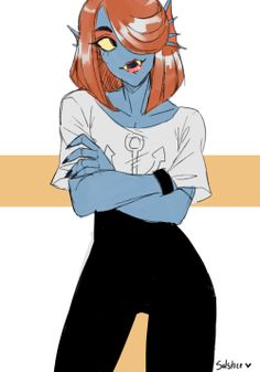 Undyne from Undertale.  Love her hair and her modern look, she looks confident and quiet for an instant