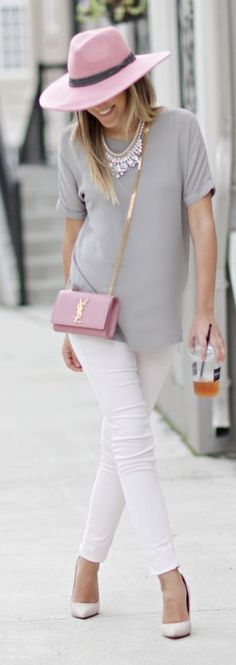 Great colour scheme for a summer weekend outfit, pale pink and white with a mid grey