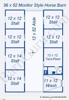 Floor Plan Horse Barn With 6 Stalls, bath, Tack & Wash but have tack and wash in the middle so you can have 2 stud stalls. Cattle Barn, Farm Barn, Horse Stables, Horse Farms, Horse Shelter, Dream Stables, Horse Rescue, Rinder Stall, Horse Barn Designs