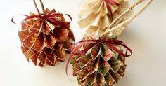Kreatívny DIY nápad s návodom urob si sám na originálne vianočné ozdoby - vianočné gule z papiera. Handmadepapierové gule, Vianoce, dekorácie, stromček