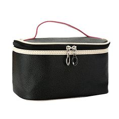 Happy Hours  Waterproof Easy Carry Toiletry Bag Pouch  Sample PU Leather Design Makeup Cosmetic Handbag  Double Zipper Washing Tote for Women Teen GirlsBlack -- Details can be found by clicking on the image. (Note:Amazon affiliate link)