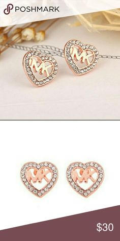 MICHAEL KORS ROSE-COLORED EARRINGS OPEN HEART SHAPED EARRINGS WITH HIS INITIALS MK IN THE MIDDLE VERY CUTE EARRINGS Michael Kors Jewelry Earrings