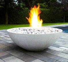 Sumaco Auto Ignition Fire Pit Concrete WoodlandDitrectcom - Concrete outdoor fireplace river rock fire bowl from restoration hardware