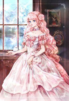 Anime Girl Pink, Anime Girl Cute, Kawaii Anime Girl, Manga Girl, Anime Art Girl, Princess Art, Anime Princess, Pretty Art, Cute Art