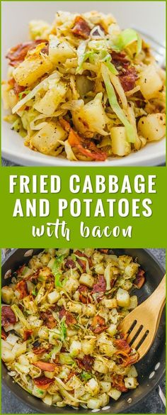 This is a really easy fried cabbage and potatoes recipe with crispy bacon. Only six ingredients and one pan needed. soup, recipes, rolls, pickled, steaks, boiled, sauteed, fried, casserole, salad, roasted, stuffed, cabbage and sausage, southern cabbage, kielbasa, healthy, vegetarian, sauteed via @savory_tooth Side Dish Recipes, Vegetable Recipes, Vegetarian Recipes, Healthy Recipes, Vegetarian Casserole, Vegetarian Cooking, Cheap Recipes, Healthy Southern Recipes, Fast Recipes