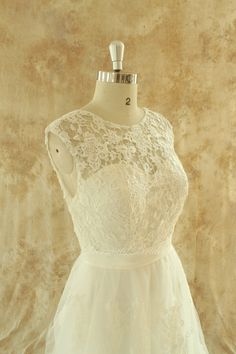 Open back Romantic A line tulle lace wedding by MermaidBridal