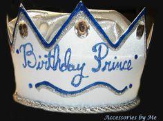 Boys Embellished Prince Happy Birthday Crown Hat Custom Blue Silver 1 - 5 Year #AccessoriesbyMe