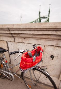 convertible crocheted BIKE BASKET  by eXtraSmall.  Made of recycled t-shirts.