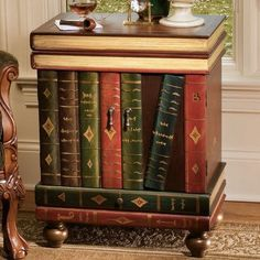 The Lord Byron Wooden Side Table - Design Toscano Thrift Store Outfits, Thrift Store Crafts, Online Thrift Store, Side Table With Storage, Table Storage, Door Storage, Book Furniture, Painted Furniture, Furniture Design