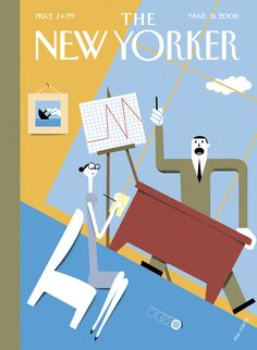 www.newyorker.com Great use of CARP, excellent contrast, excellent style repetition, excellent offset angles repetition, color is repeated as it is broken up by other color, white is repeated and broken up. Proximity and alignment proper for a magazine cover.