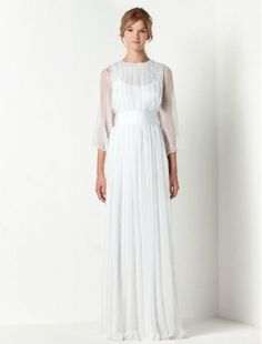 Chiffon Jewel Neckline Column Wedding Dresses with Three-Quarter Length Sleeves - Bridal Gowns - RainingBlossoms