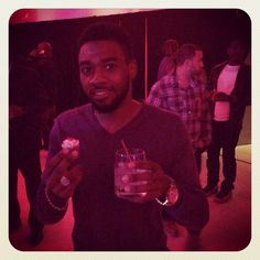 R & B singer Leigh Bush (formally Sammie) enjoying his Sweet Shots liquor infused cupcake
