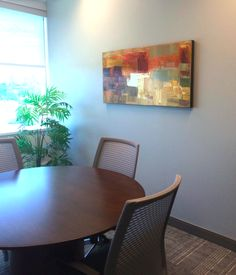 Office meeting room, painting by Peter Colbert. Ottawa Art Gallery, Office Meeting, Abstract Painters, Canadian Artists, Dining Chairs, Collections, Room, Painting, Furniture