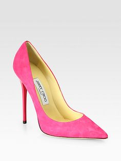 310c8b113a81 Jimmy Choo - Anouk Suede Pumps - Saks.com - Beautiful in black! Pink