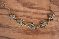 Vintage Nautical Rope and Gem Necklace