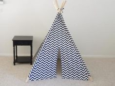 Chevron Teepee Black and White or Red and White Pick Tons of options Teepee  Play tent Made to Order by theteepeeguy for $129.00