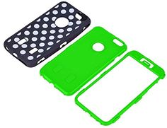 """myLife Layered Protection Tuff Shockproof Armor Case for the iPhone 6 Plus (5.5"""" Inch) by Apple {Countryside Green + Space Black """"Retro 50s Polka Dots"""" Three Piece SECURE-Fit Rubberized Gel} myLife Brand Products http://www.amazon.com/dp/B00QLAH4MK/ref=cm_sw_r_pi_dp_JgJHub1DPF13D"""