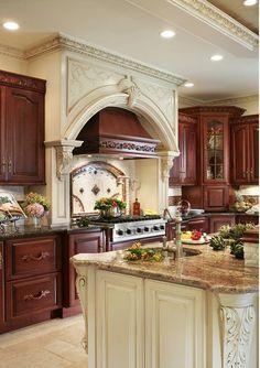 Farmhouse Side Table, Farmhouse Kitchen Decor, Traditional Interior, Modern Interior, Traditional Kitchens, Interior Design, Red Kitchen, Kitchen Vent, Kitchen Island