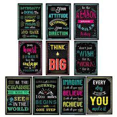 Amazon.com: AmFor 10 Pcs Chalkboard Motivational Posters, Inspirational Quotes Bright Colors Style for Classroom, Office Decorations, 8x12 inch: Posters & Prints