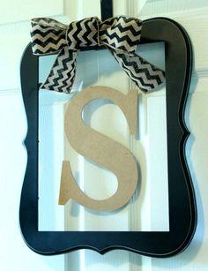 Black Frame Chevron Bow Monogram Letter Door Hanger on Etsy, $45.00