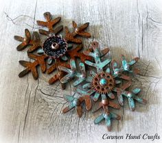 Steampunk Patina Holiday Ornaments | Created by Carmen Handcrafts with Metal Effects by Modern Masters