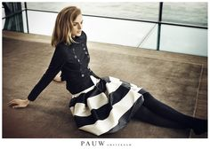 #PAUW Fall Winter | Military style jacket and stripe skirt. Autumn Winter 2013 #aw13 #pauw #fashion