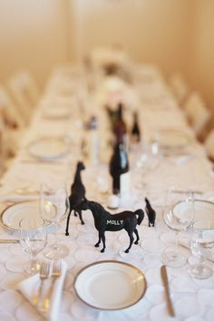 equine place setting - great idea to put chalkboard paint on anything for placecard/objects