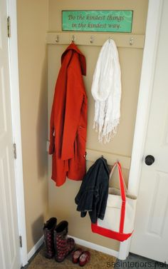 Mudroom Organization - Hooks at Two Heights